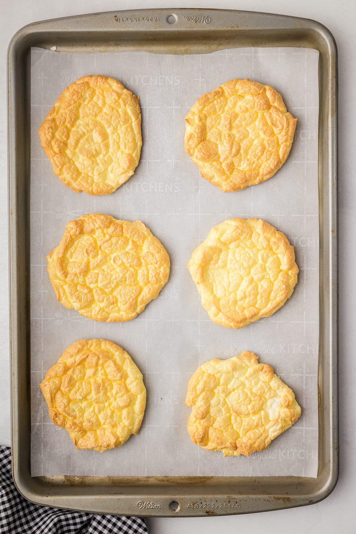 6 cloud bread in baking tray