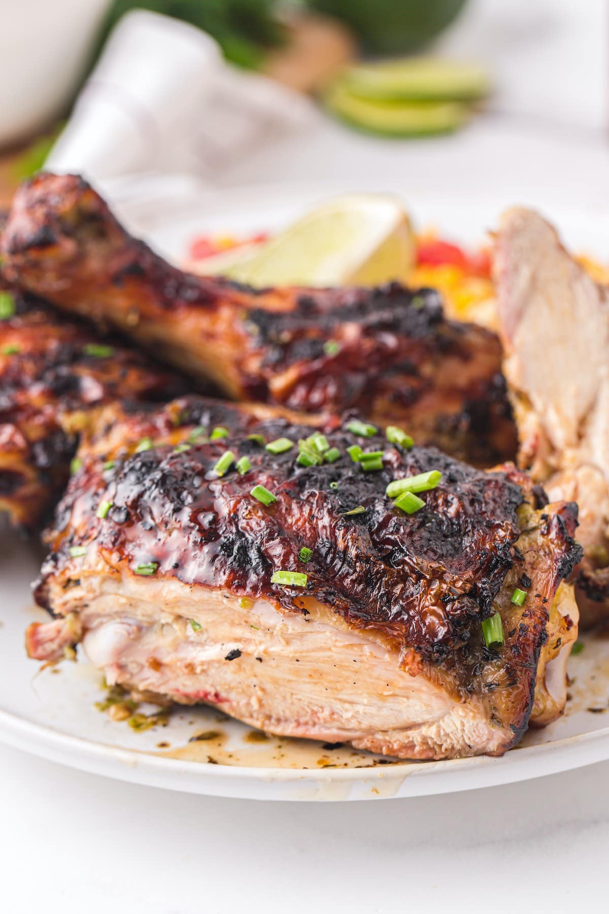 showing the inside of grilled jerk chicken