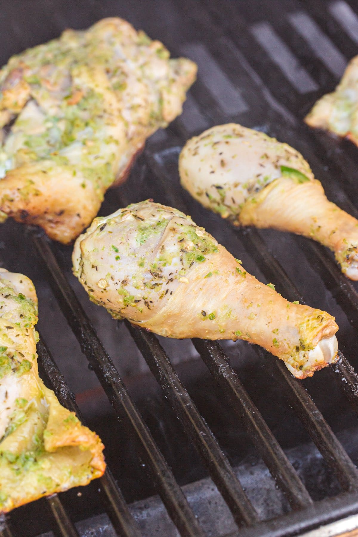 chicken on top of the grill