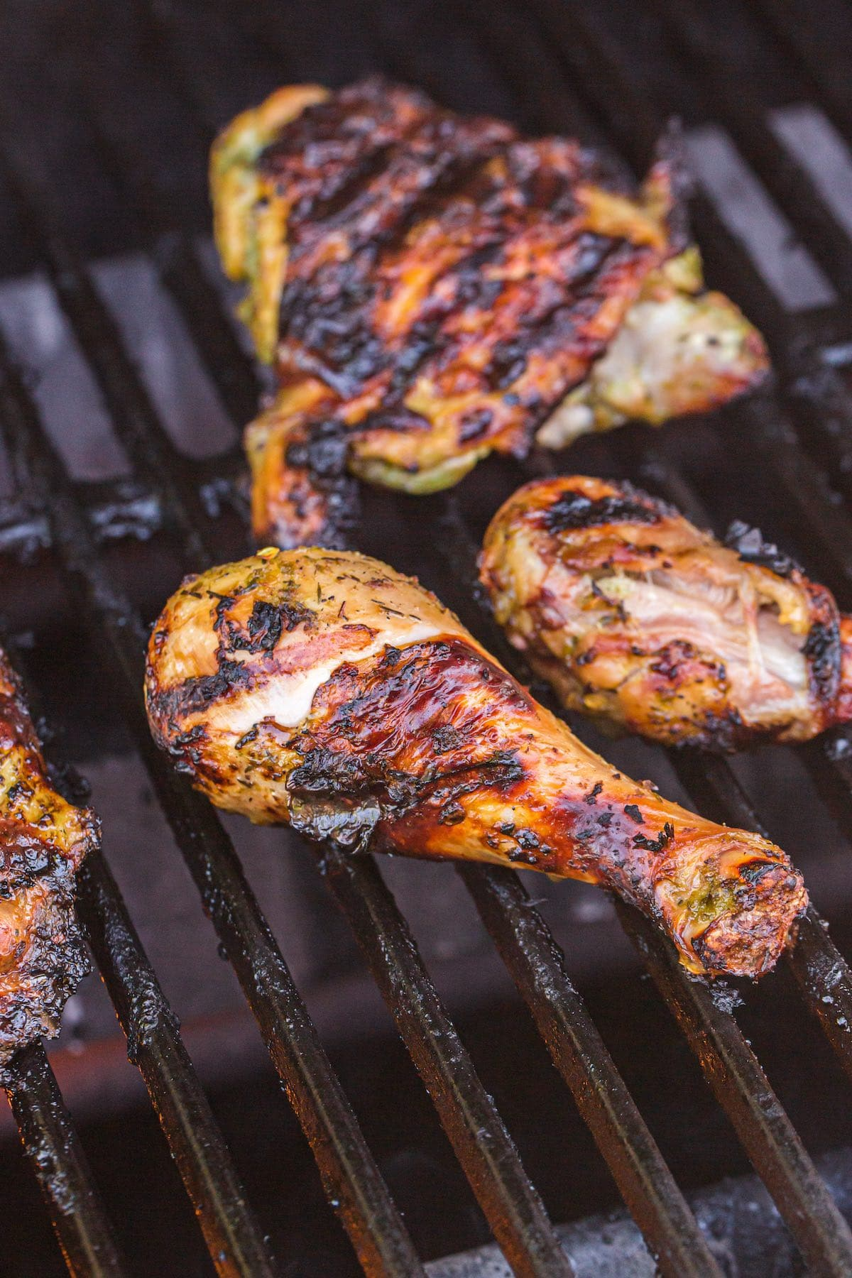 grilled chicken on top of the grill
