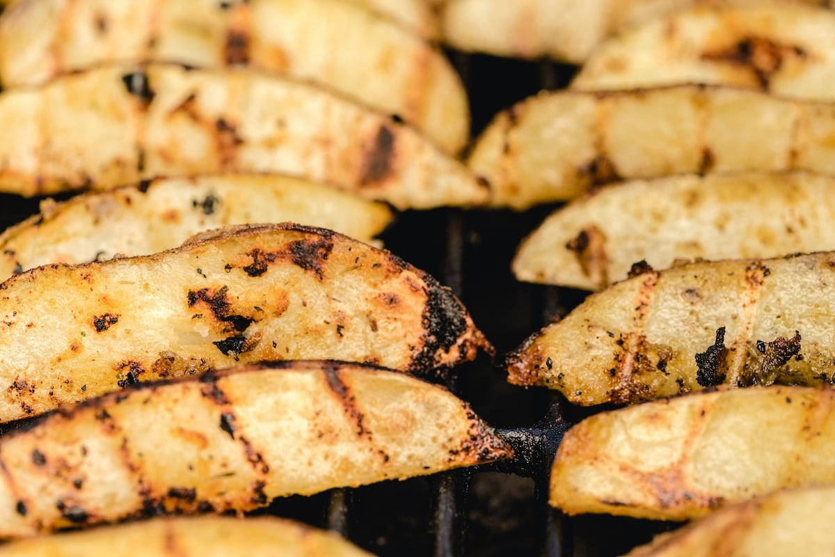 flip the potatoes to grill the other side
