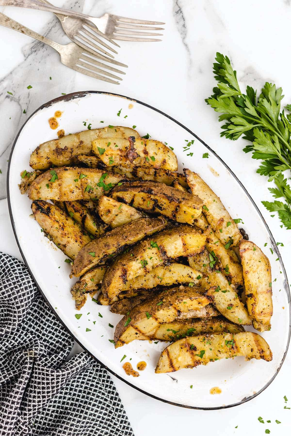 grilled potatoes on a plate