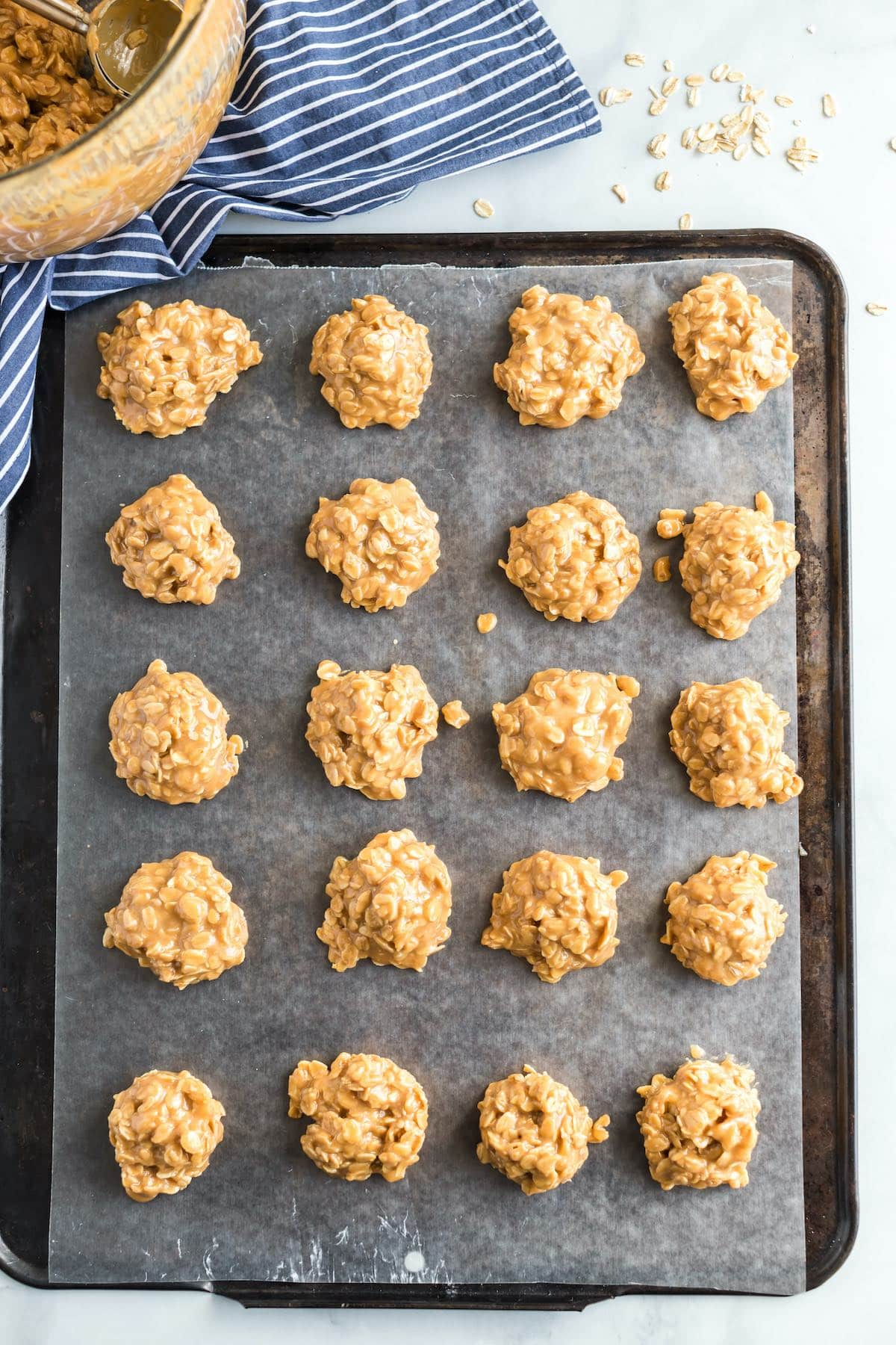 several peanut butter cookie in a baking sheet