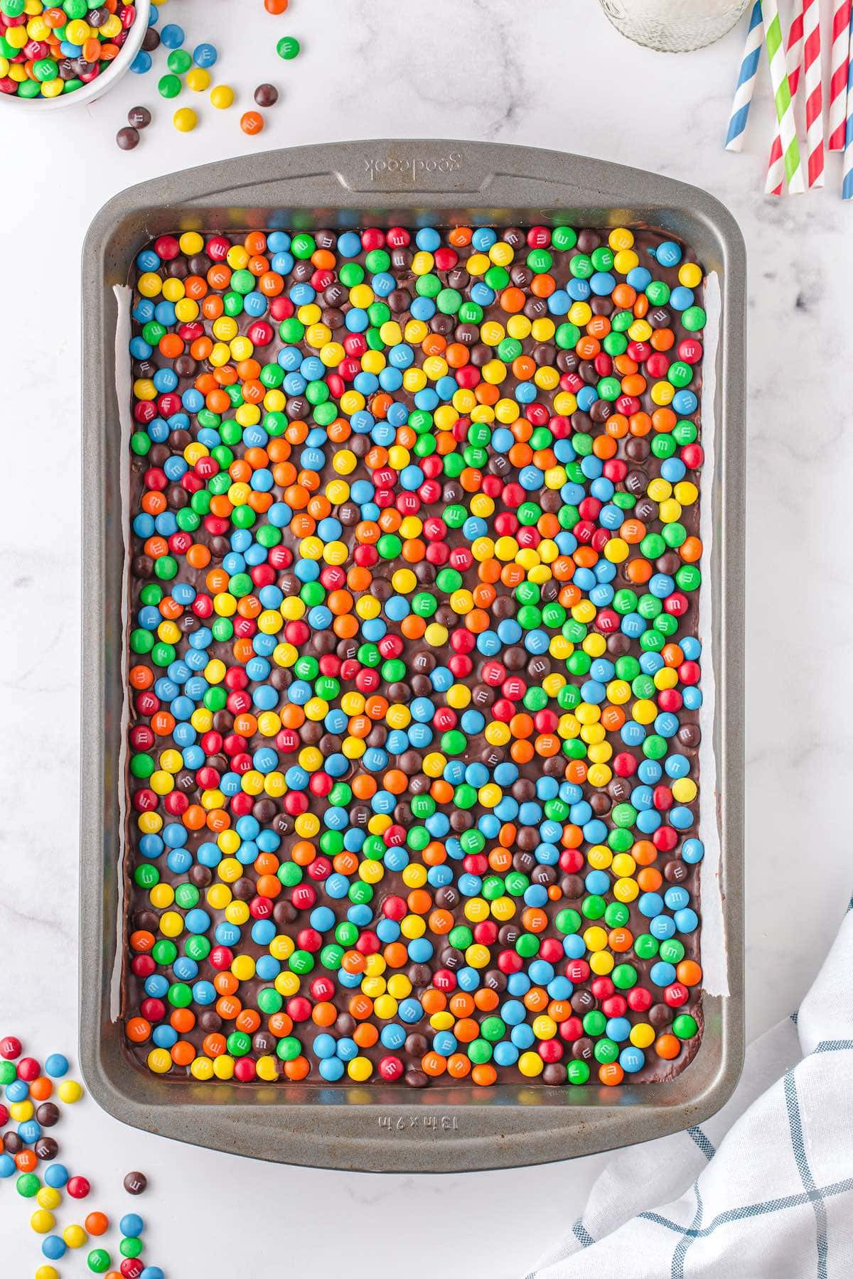 spread M&M's on the top