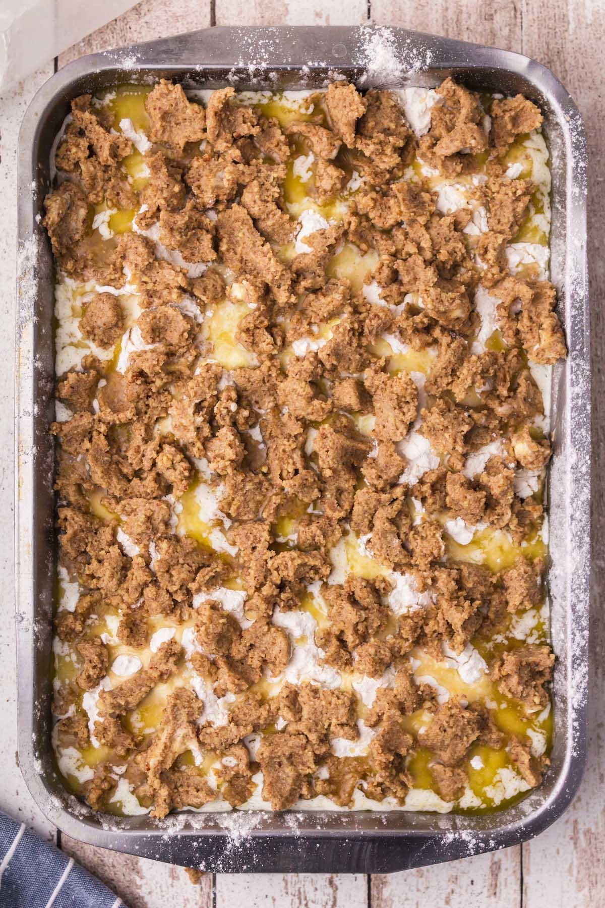 sprinkle the pecan mixture on top