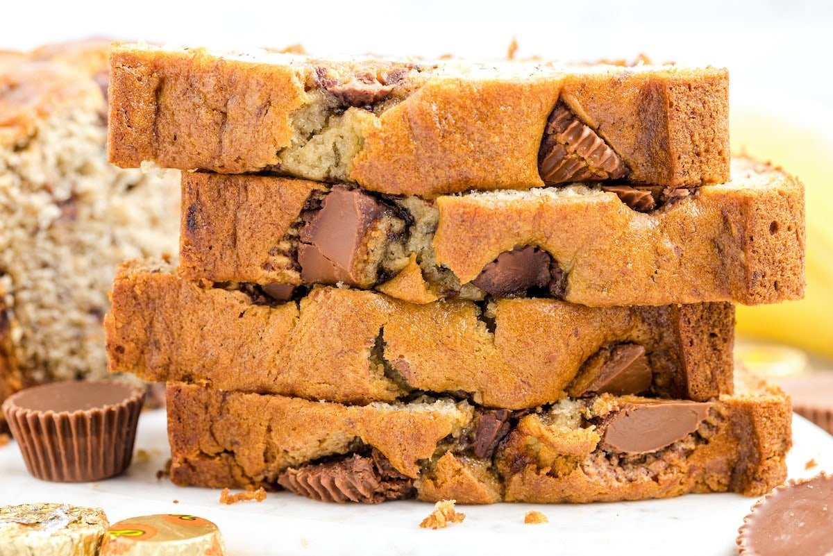 a couple slice of peanut butter banana bread