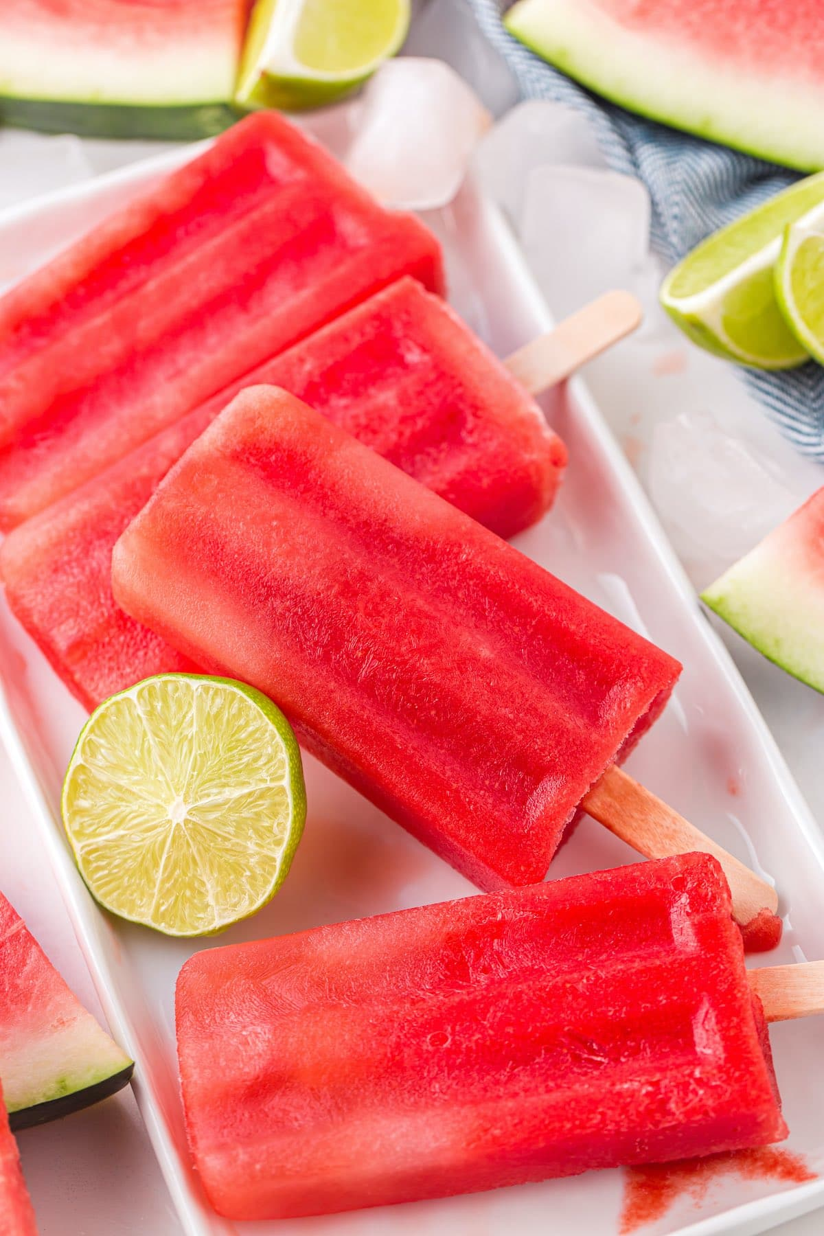 4 watermelon popsicles on serving dish