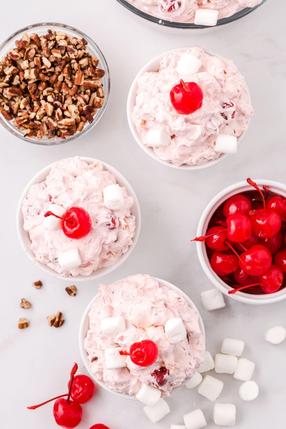 serve cherry fluff in bowls