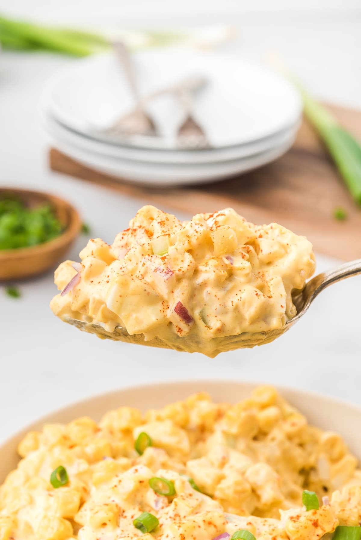 deviled egg pasta salad in a spoon