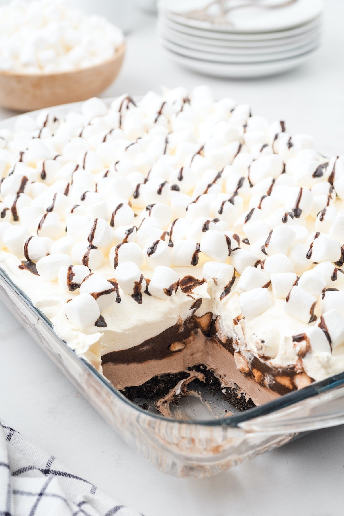 hot chocolate lasagna in baking dish