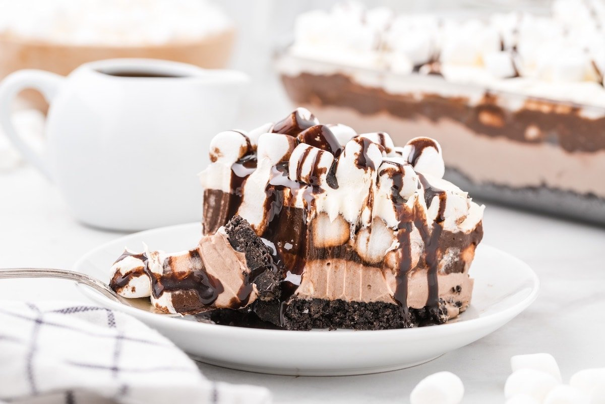 a slice of hot chocolate lasagna on a plate