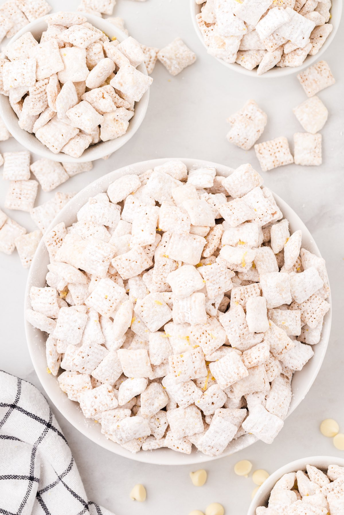 lemon puppy chow in a bowl