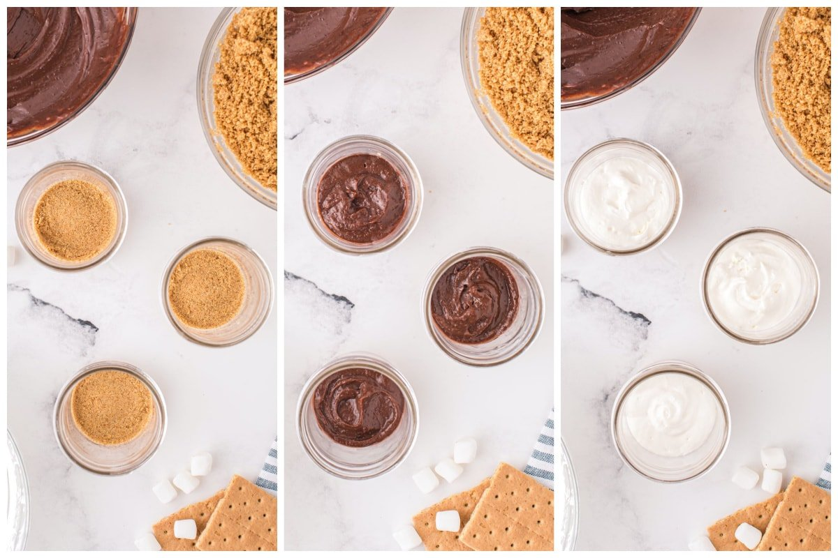 layering the smores trifle in a jar