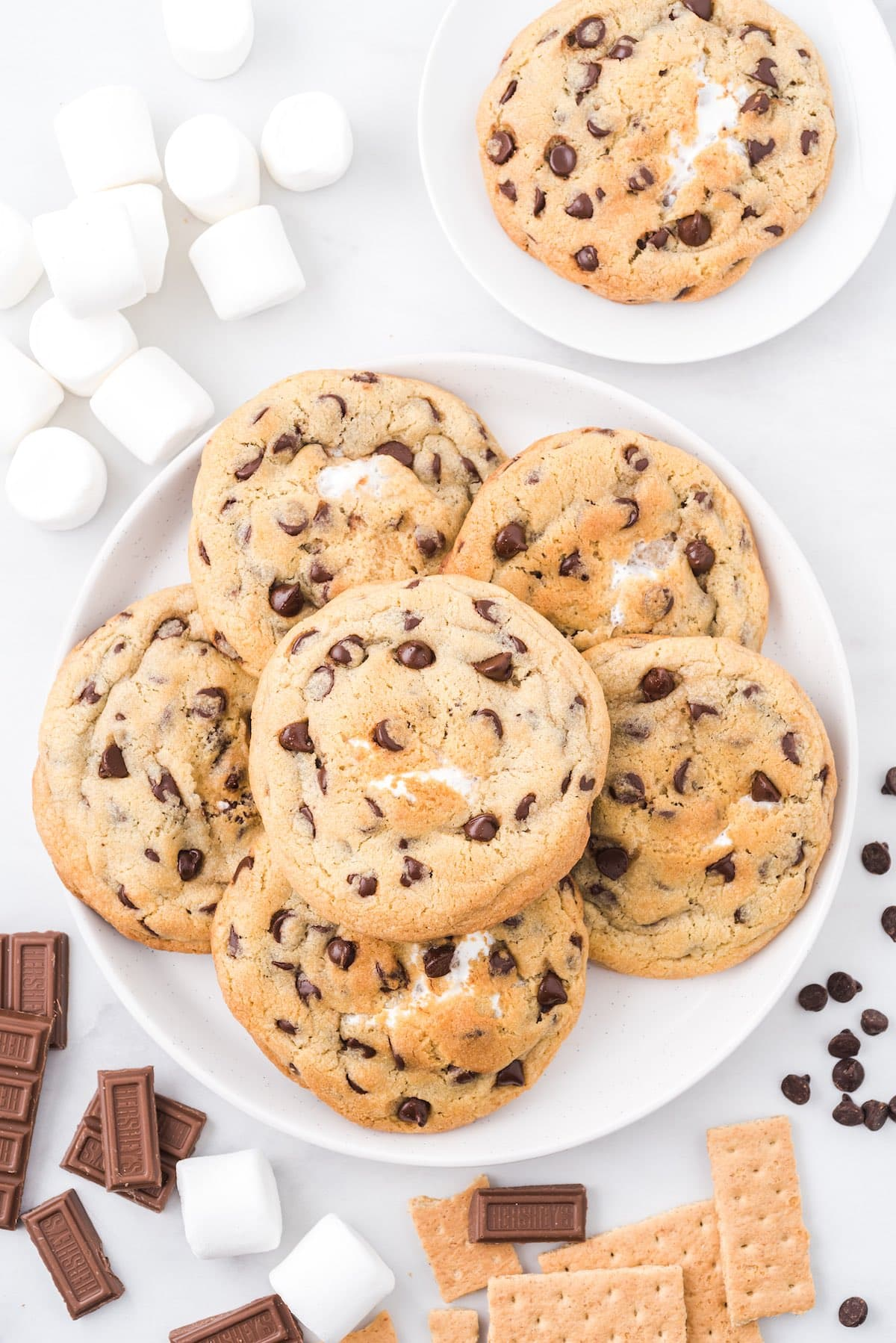 smores stuffed cookies on a plate