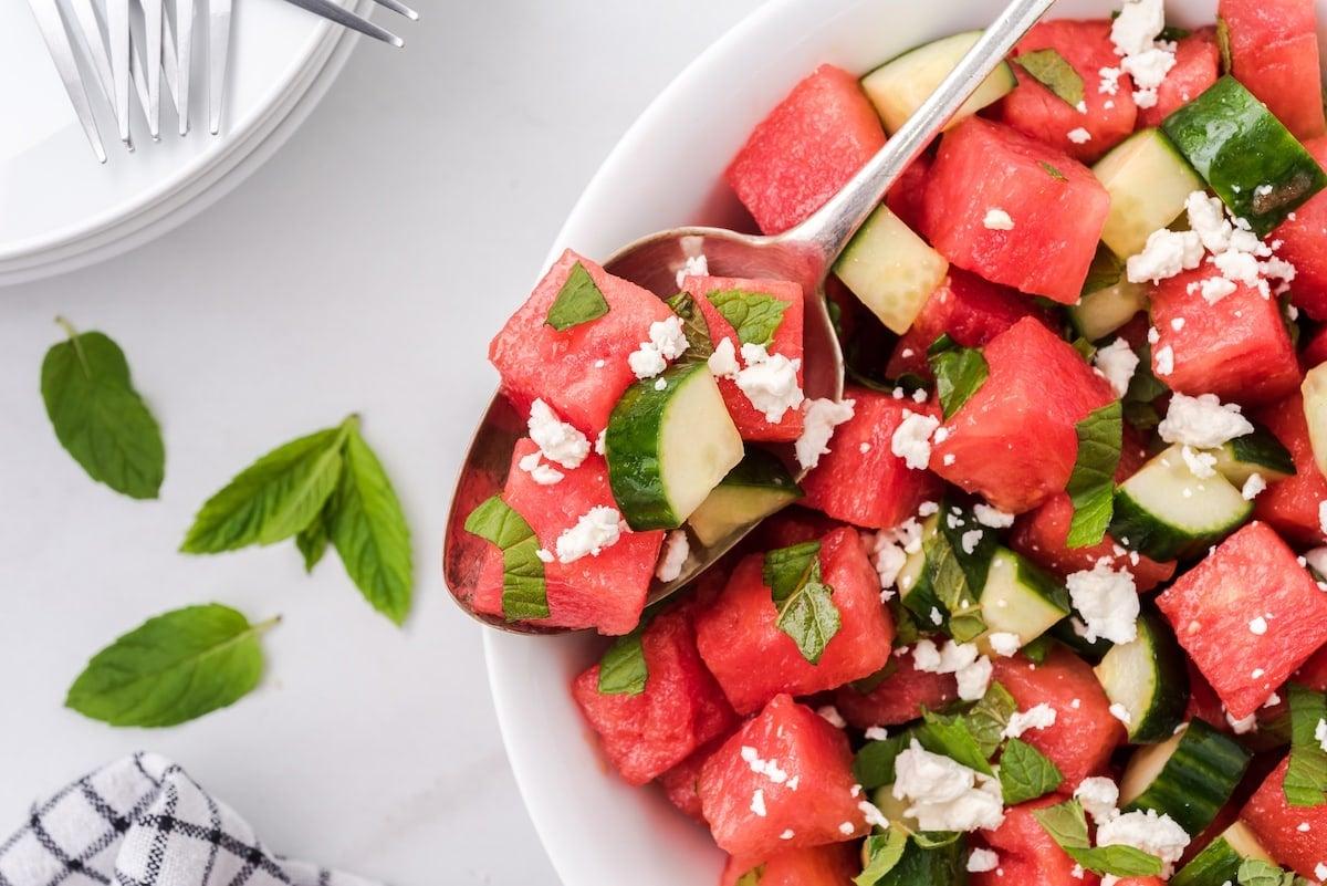 watermelon salad on a spoon