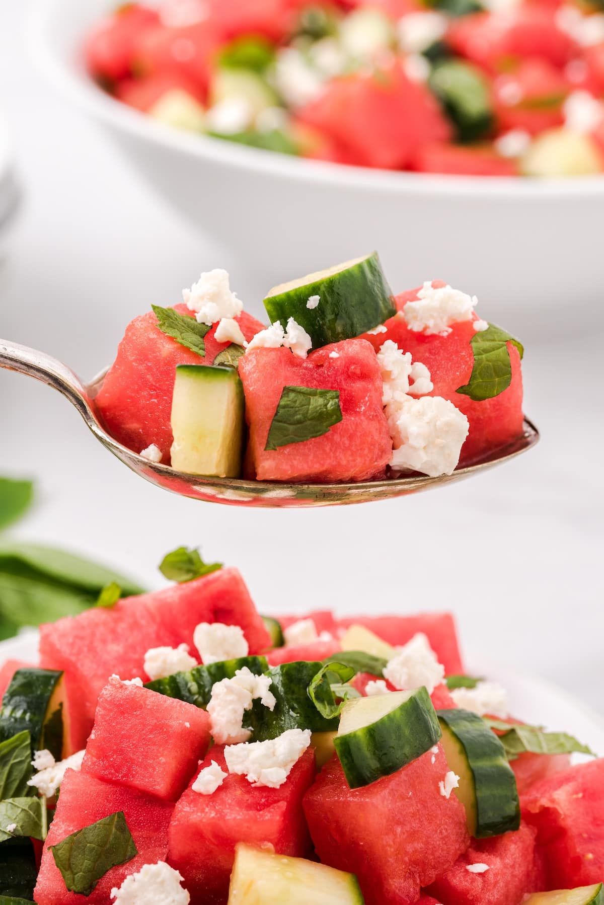 zoomed in watermelon salad on a spoon