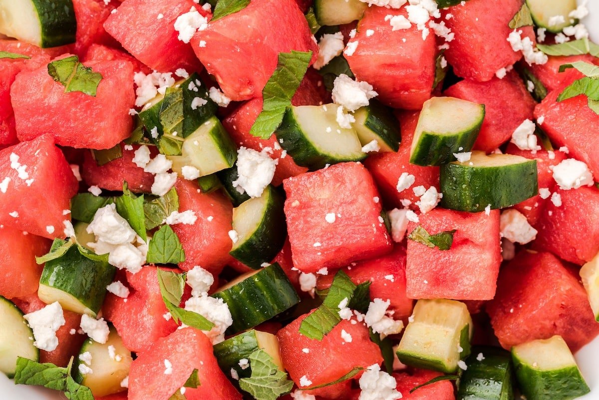 zoomed in watermelon salad