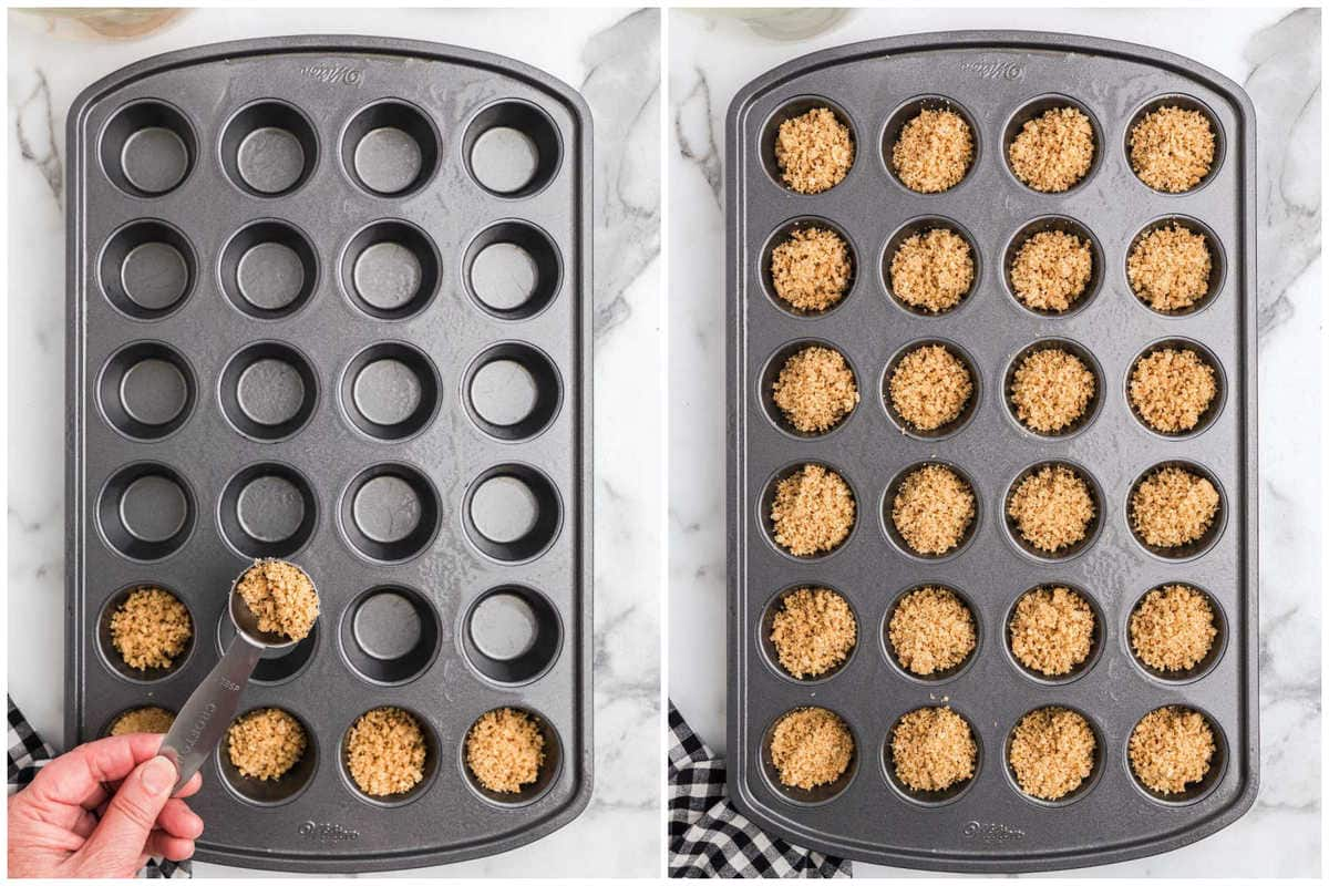 evenly fill the mini muffin cups with the graham cracker mixture
