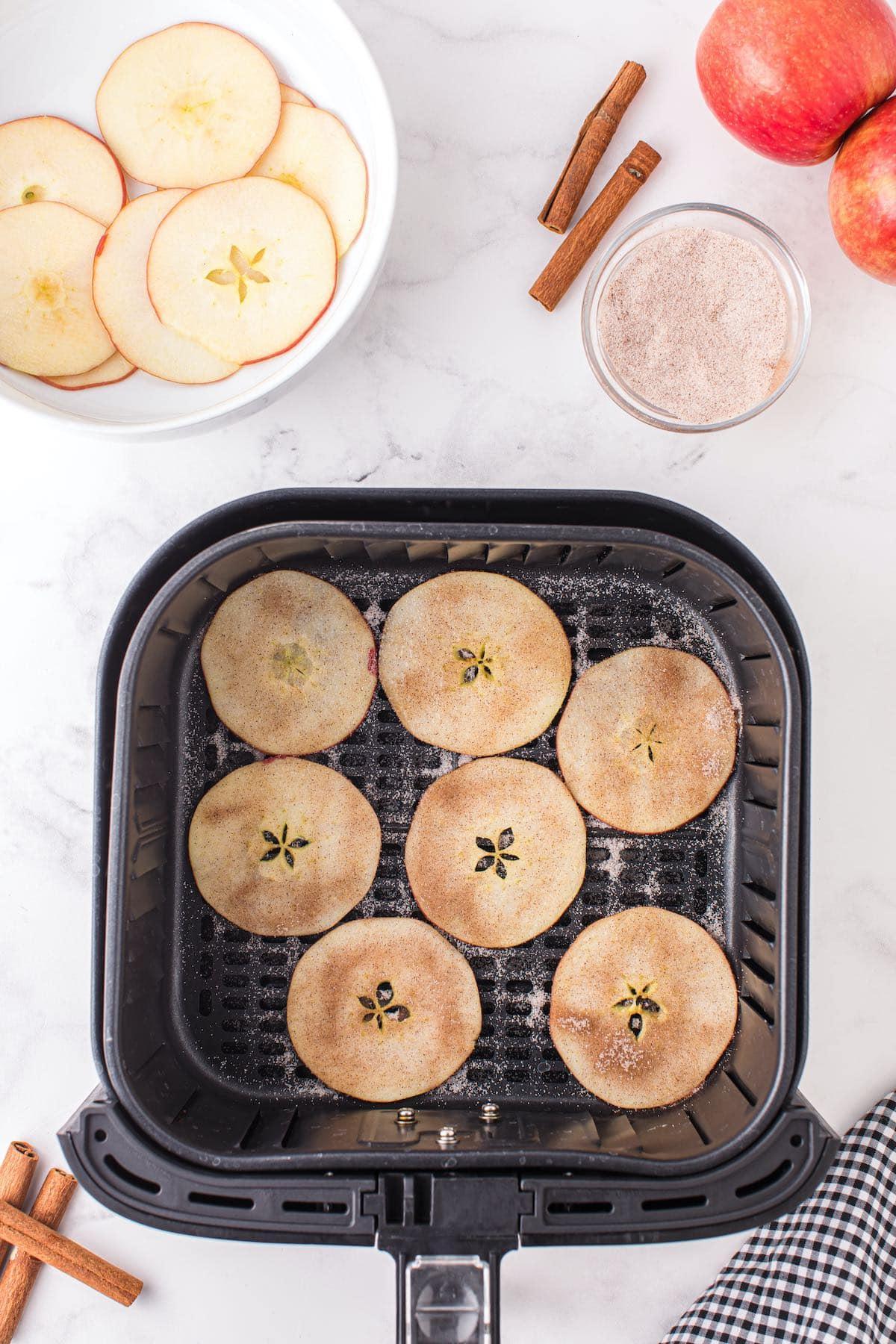 sprinkle cinnamon to the apple slices