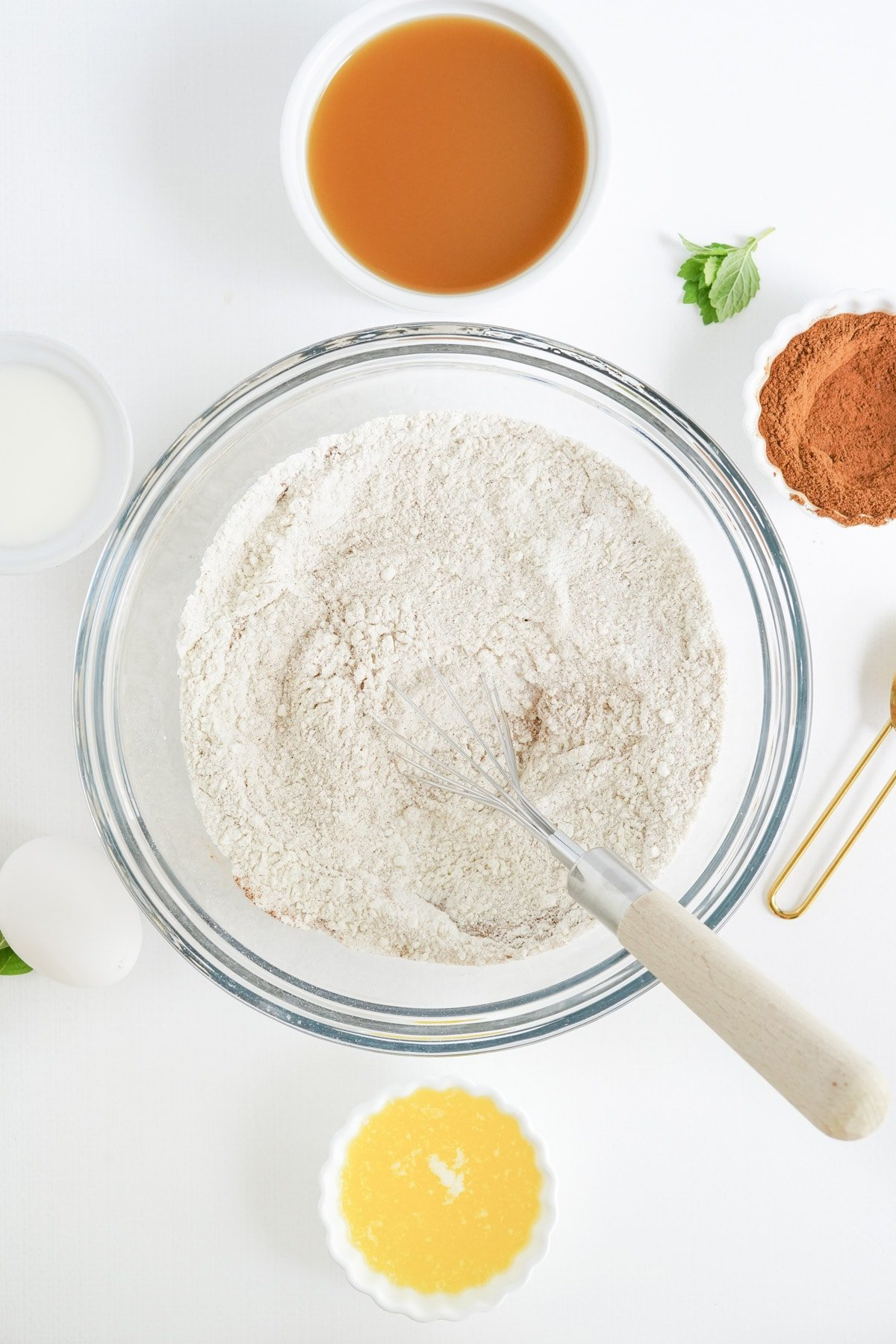 In a large bowl, combine the flour, baking powder, cinnamon and sugar and whisk until combined