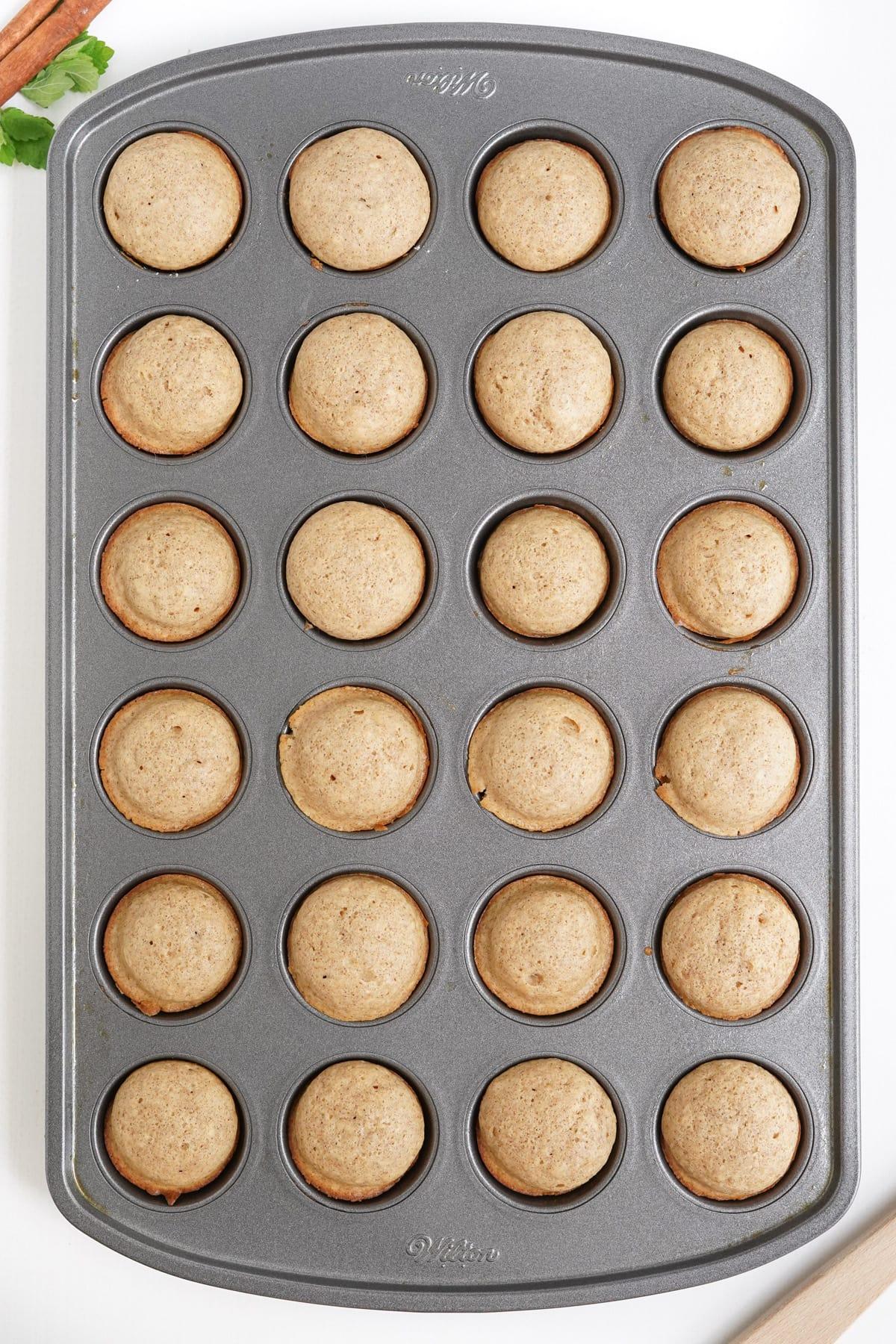 baked doughnut in mini muffin pan