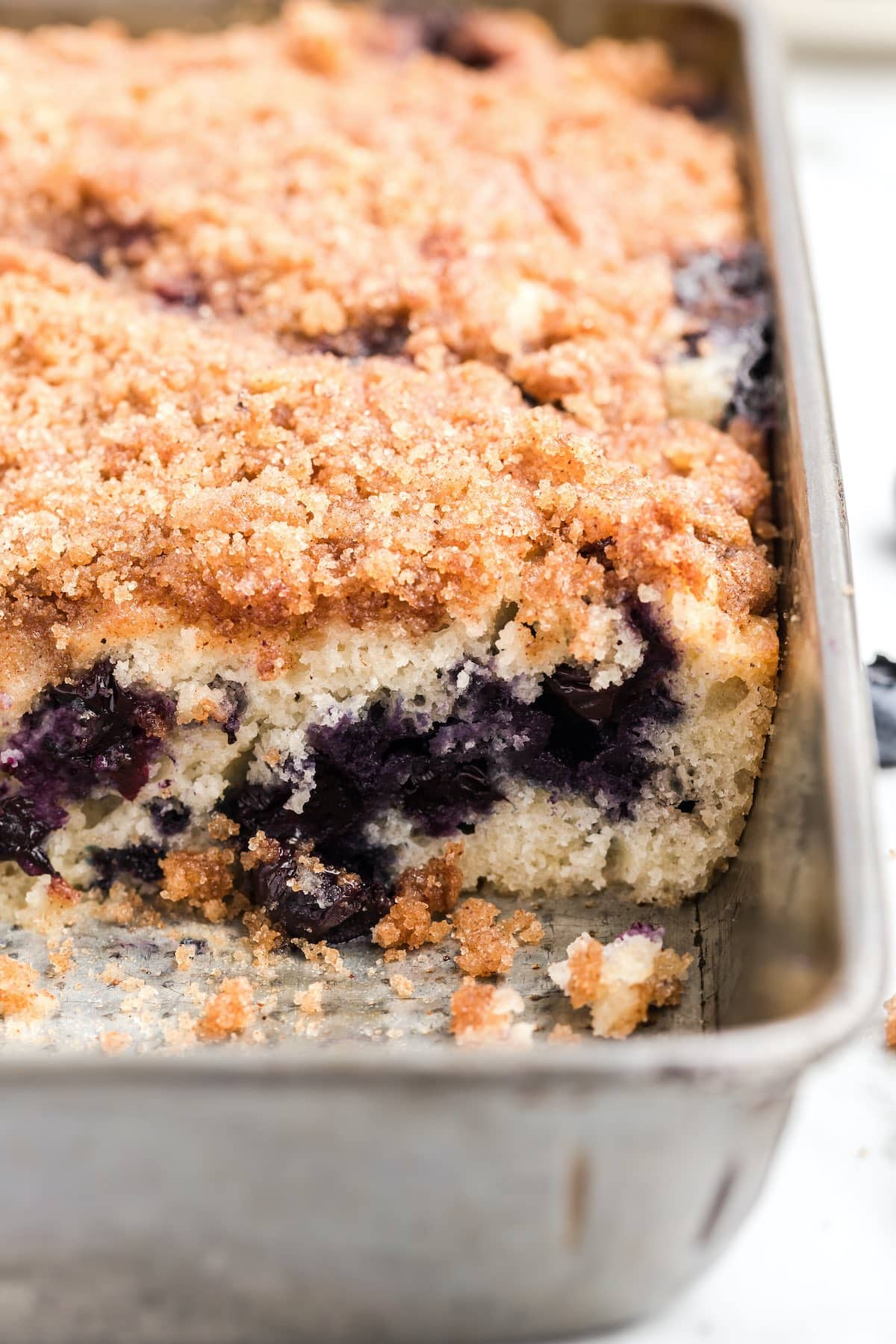 blueberry coffee cake in a pan