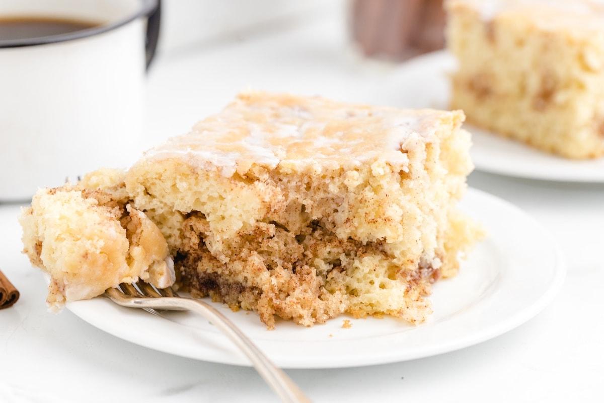 cinnamon roll cake on a plate