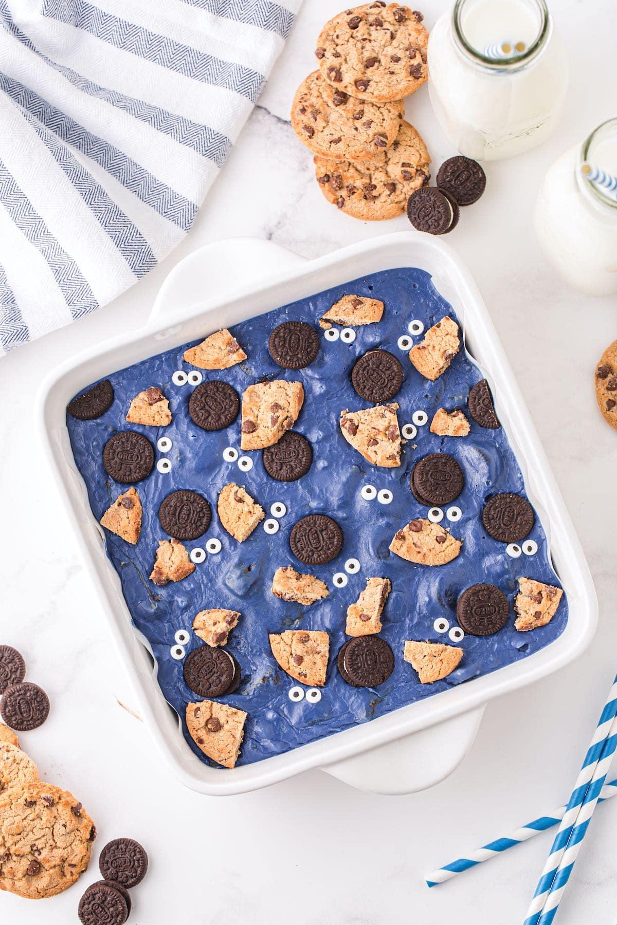 cookie monster fudge in baking pan
