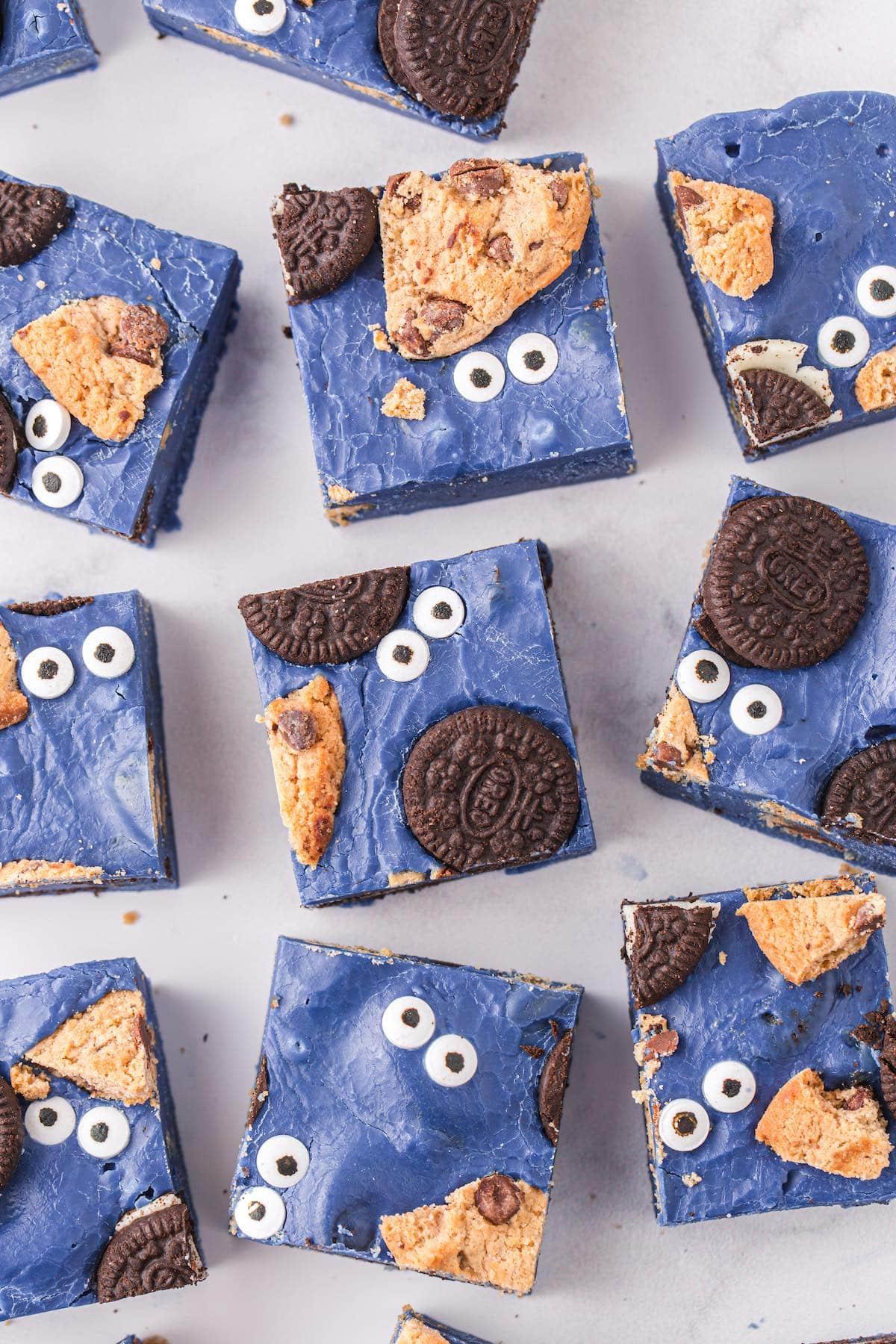 cookie monster fudge cut into squares