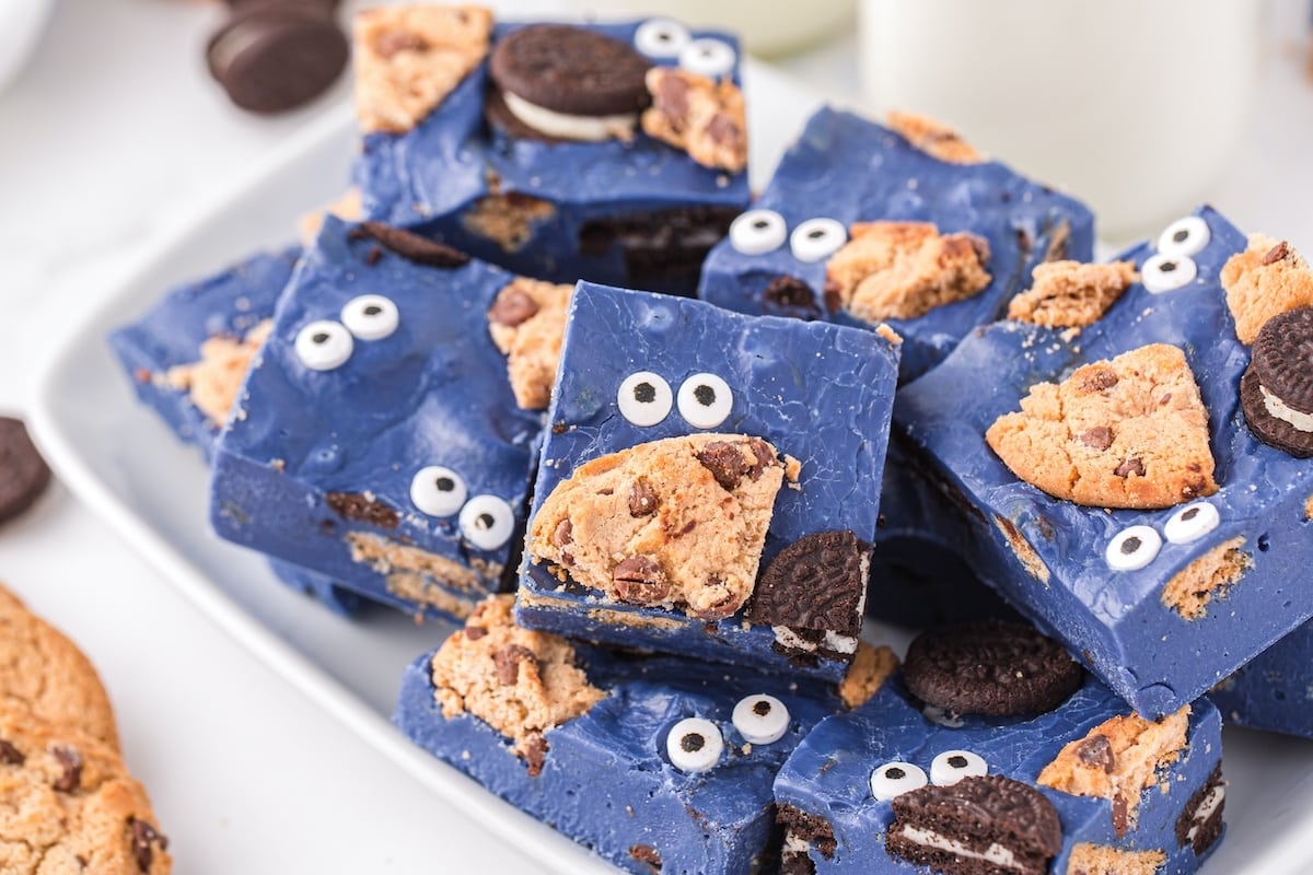cookie monster fudge stacked on plate