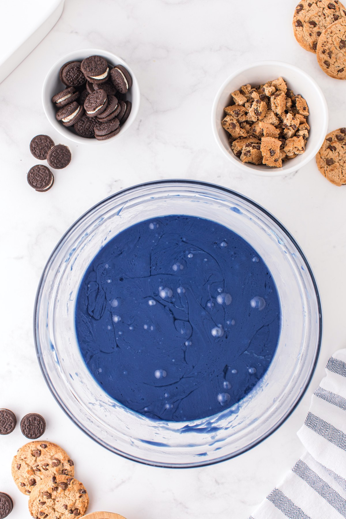 melted blue candy in a bowl