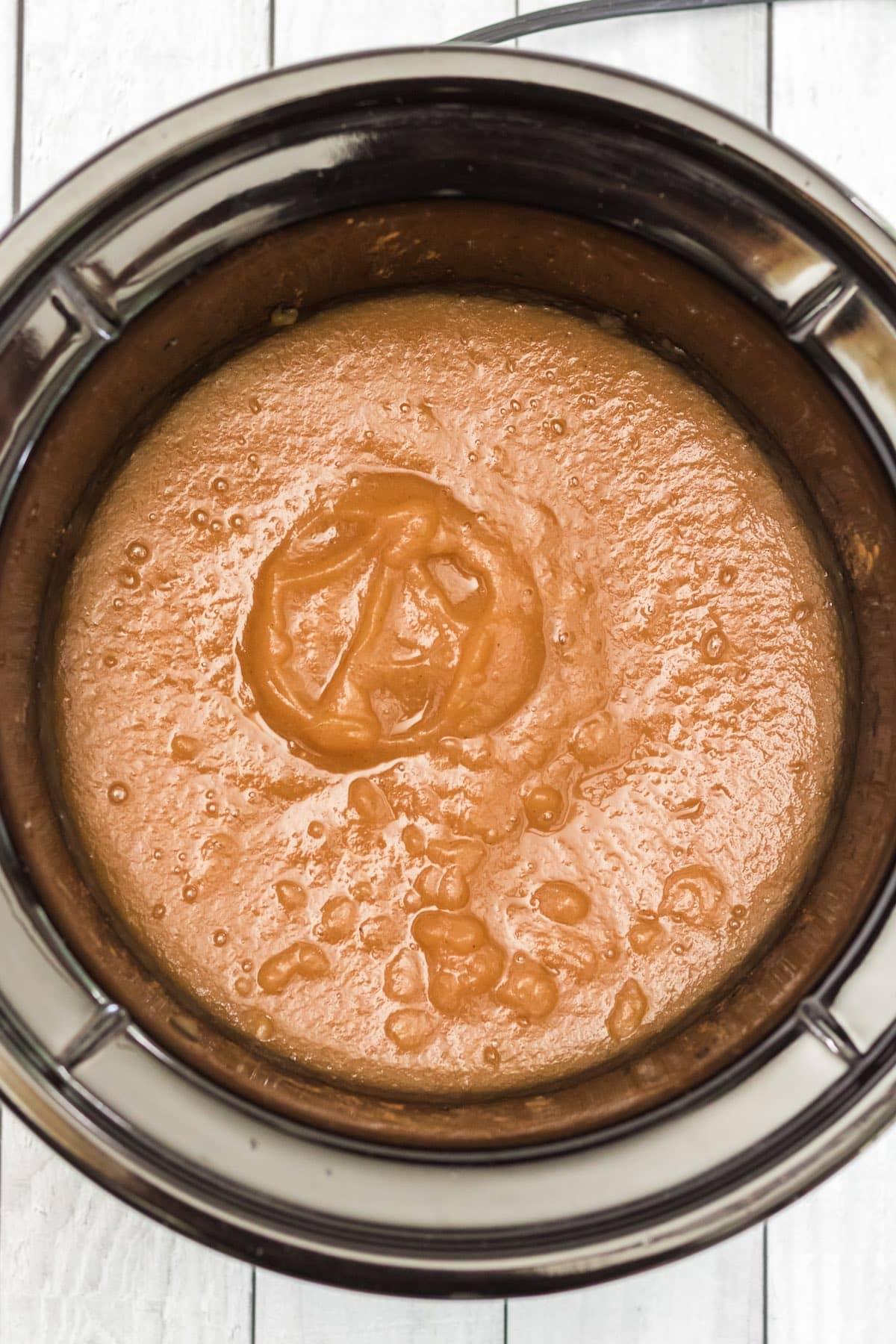 apple sauce inside crockpot