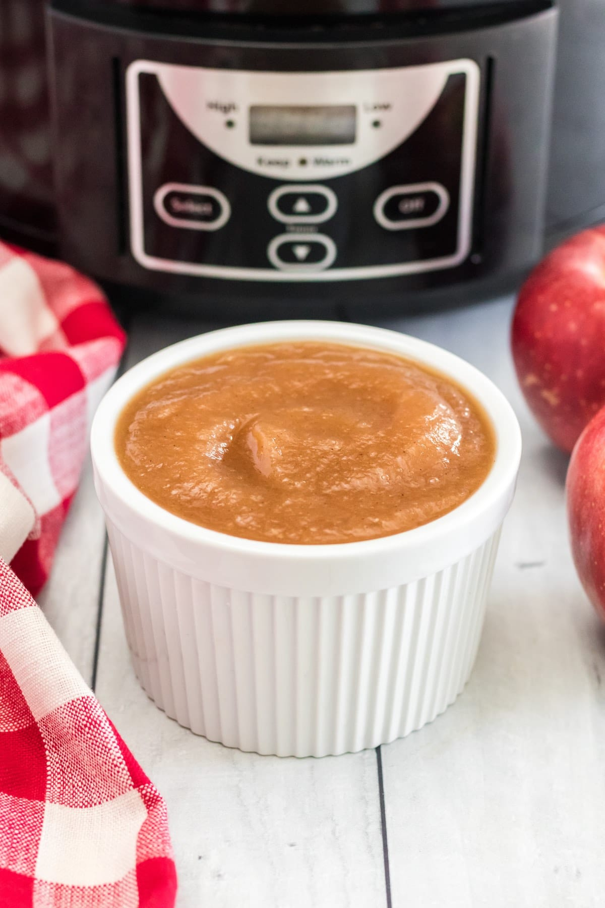 apple sauce in front of crockpot