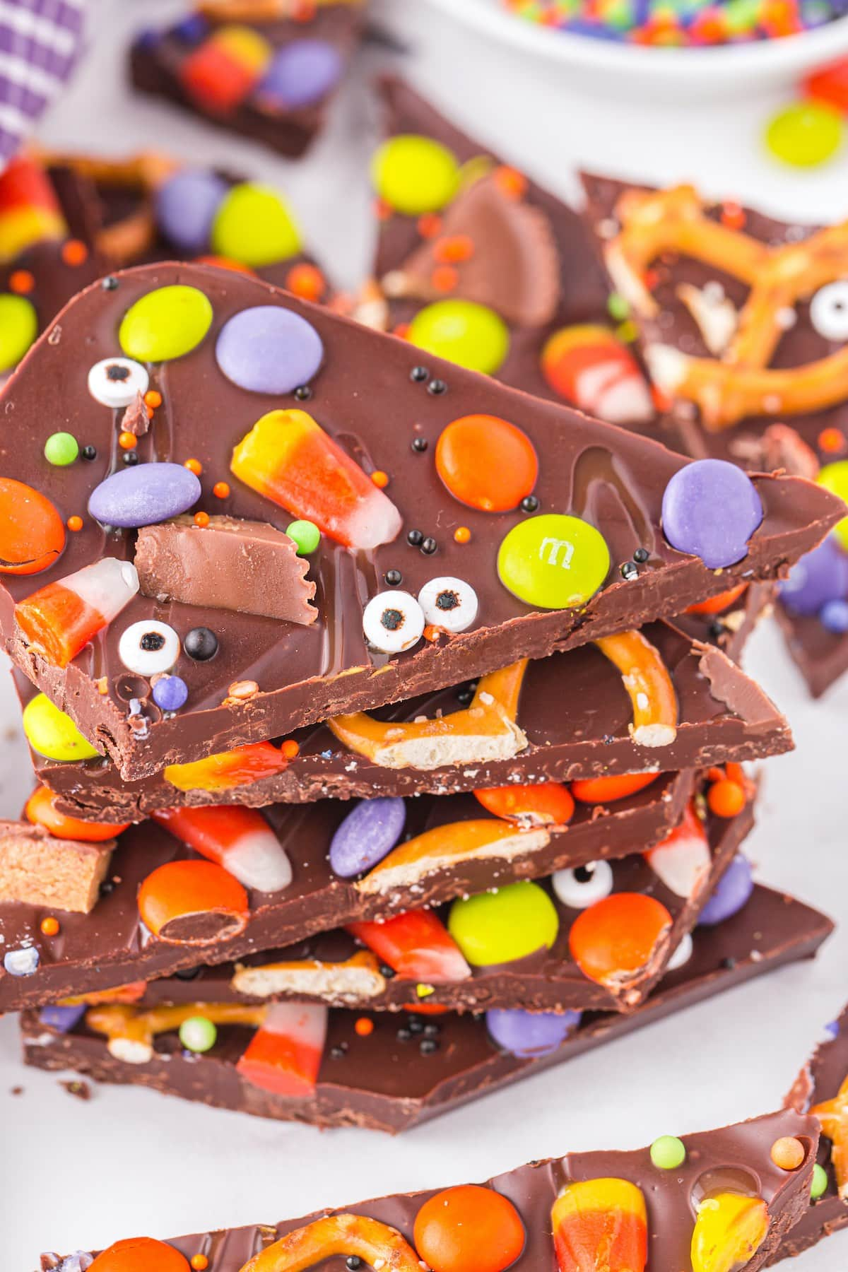halloween candy bark stacked