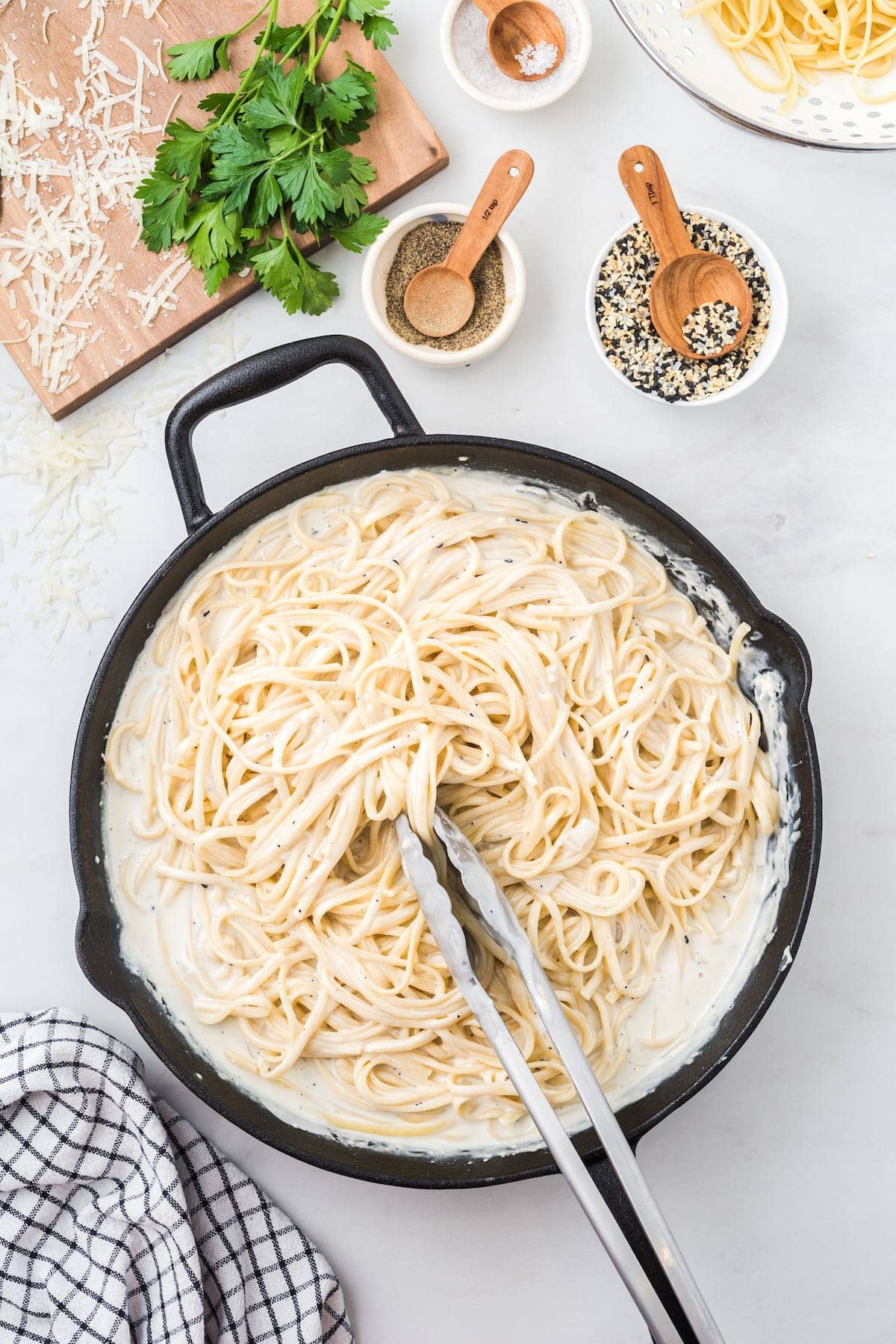 add cooked pasta and toss