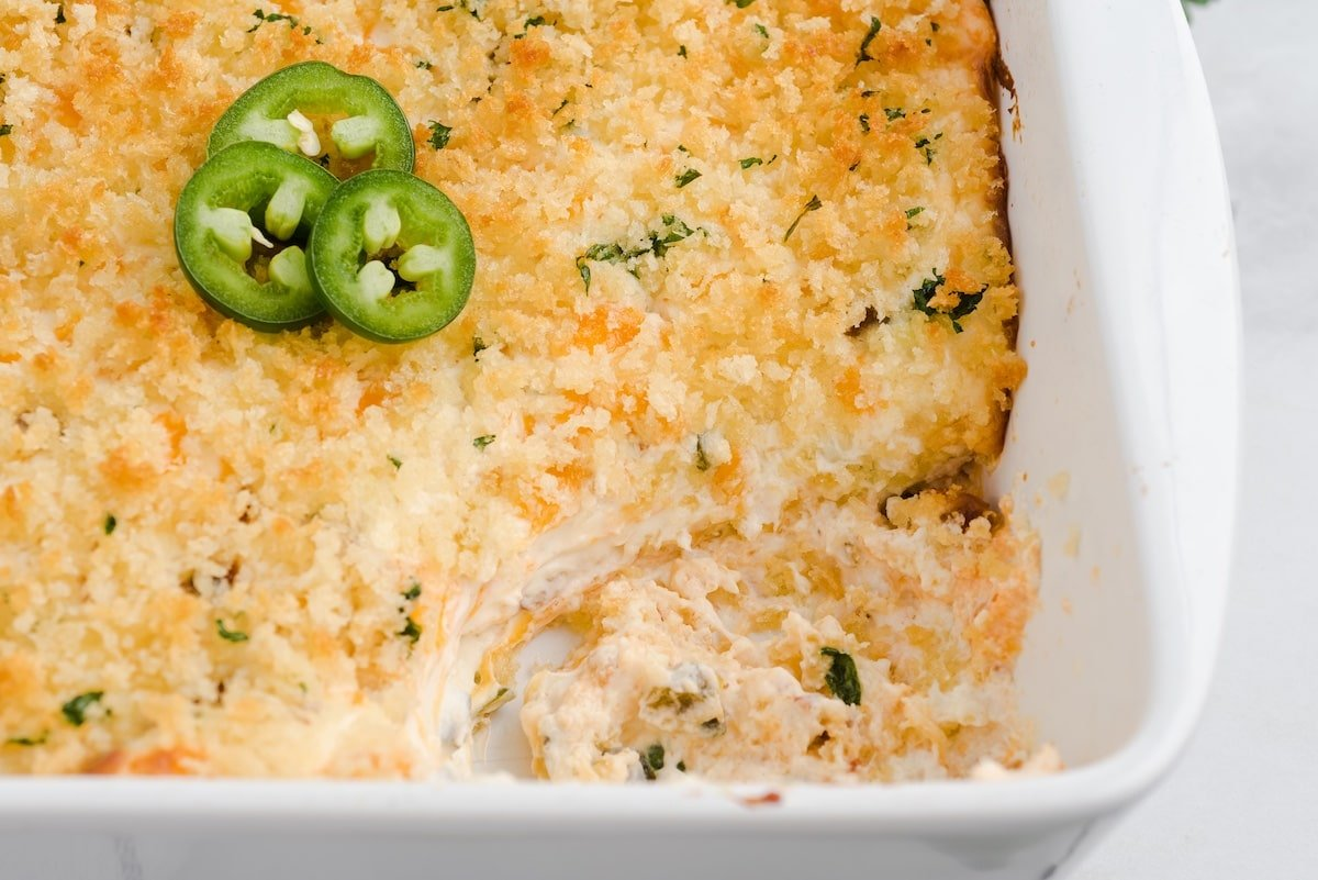 jalapeno popper dip in baking dish