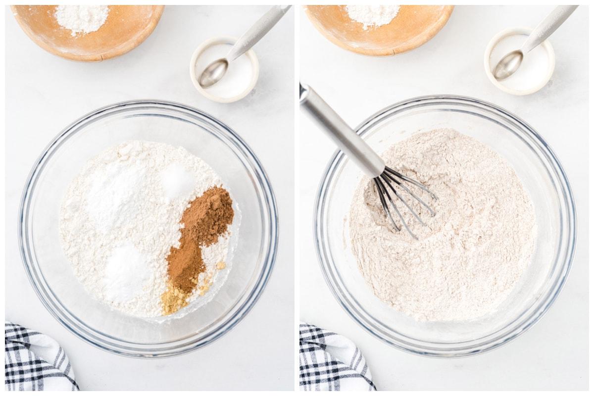 In a medium size mixing bowl, whisk together flour, pumpkin pie spice, baking powder, baking soda, ground cinnamon, ground ginger and salt.