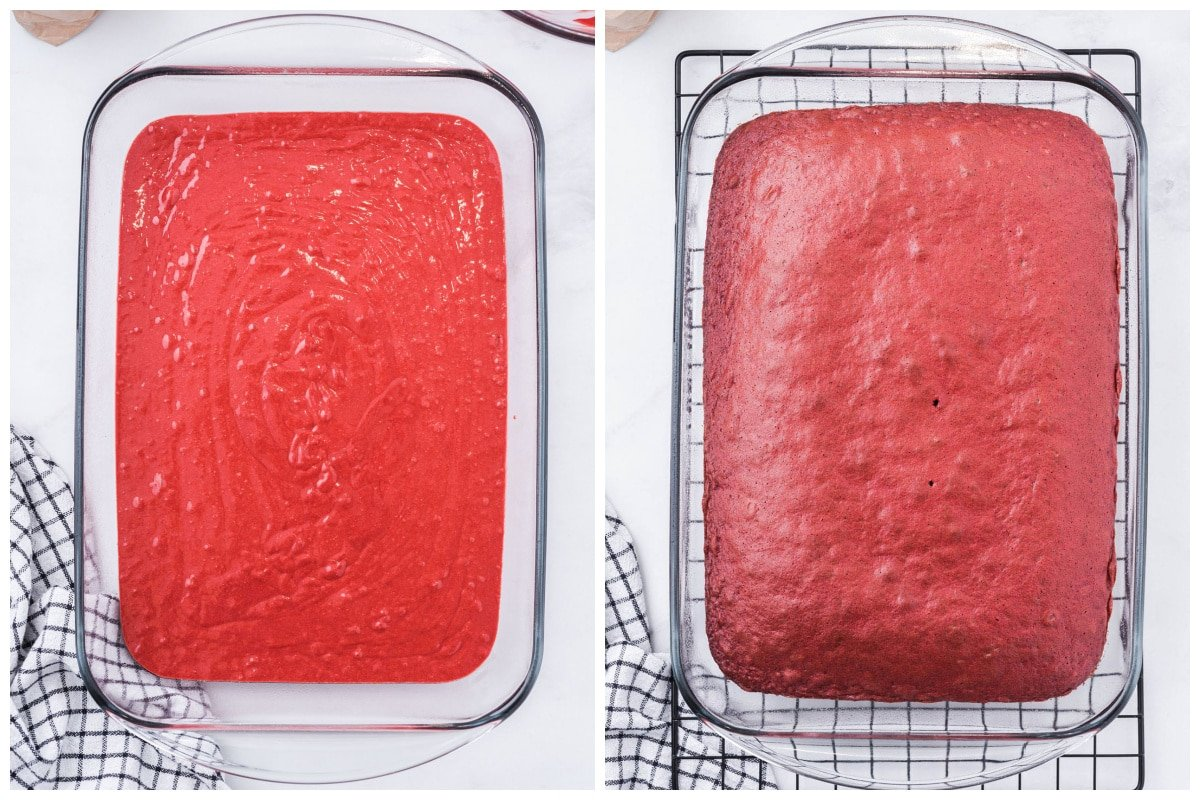 Prepare cake mix and pour batter into cake pan and bake.
