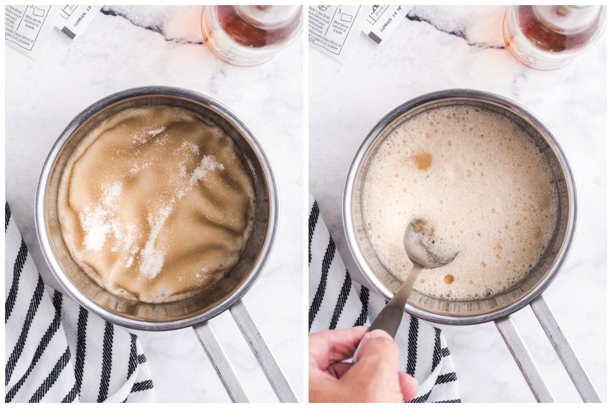 Add cream soda to a saucepan and sprinkle gelatin packets over the top