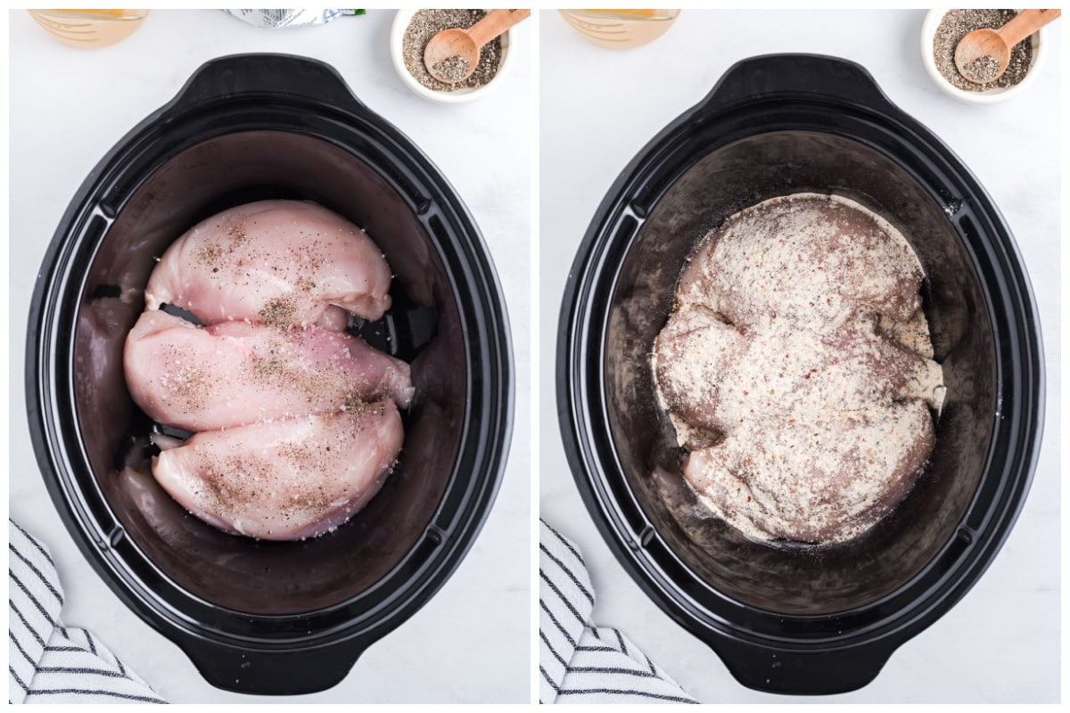 Add chicken to your slow cooker and sprinkle with salt, pepper, and Italian dressing mix.