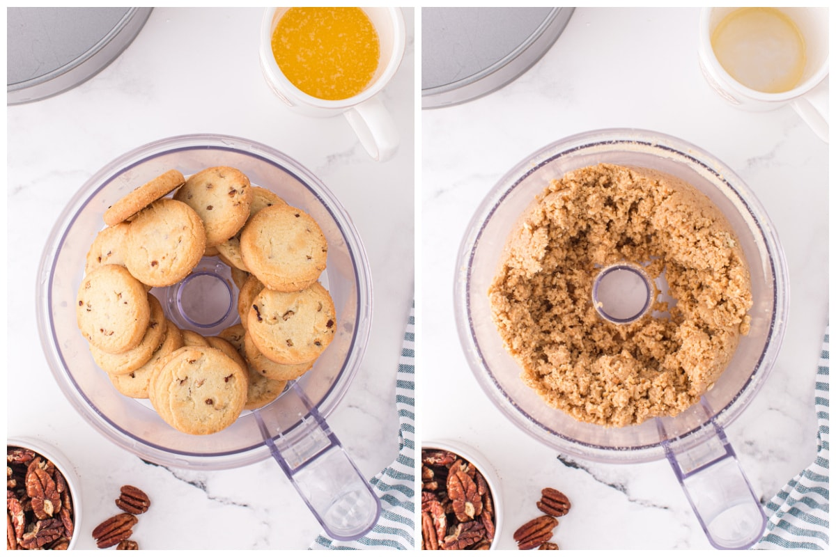 Crumble the cookies in a food processor.