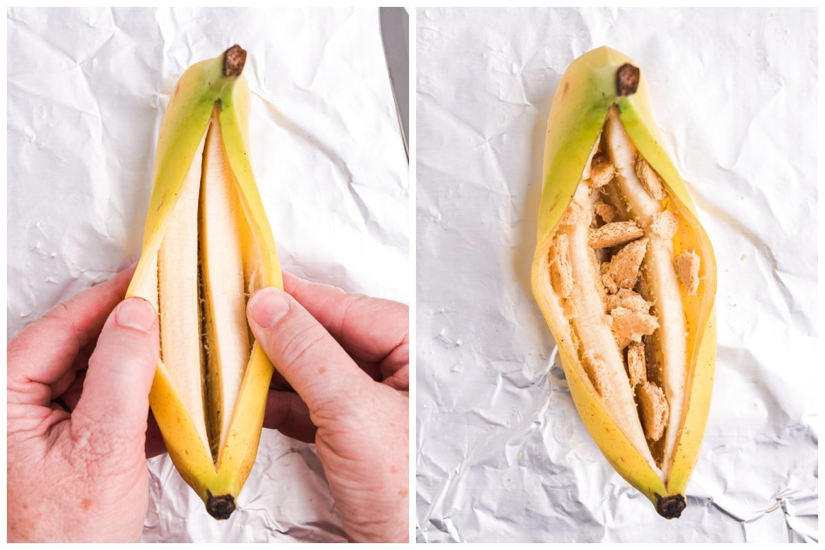 Press cookie or cracker pieces into the middle of the banana