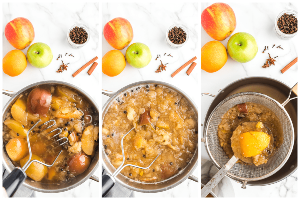 mash the fruit in the pot