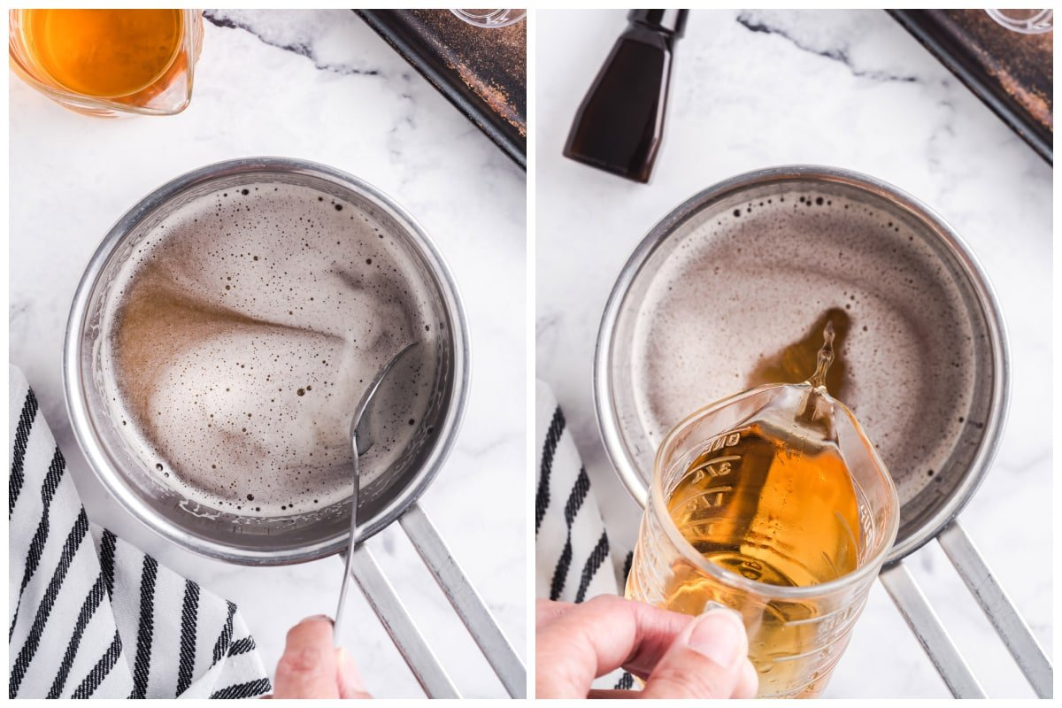 add the butterscotch schnapps, vanilla vodka, and butter-flavored extract