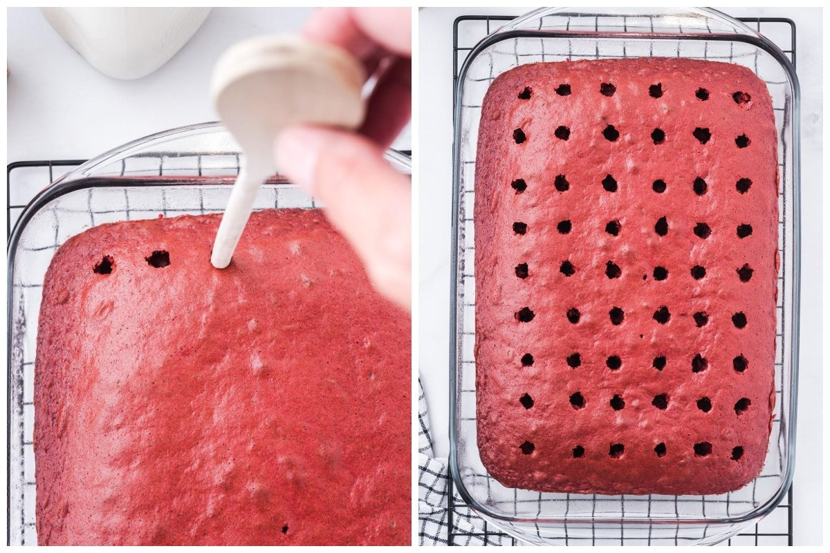 Poke holes in the cake with the handle of a wooden spoon