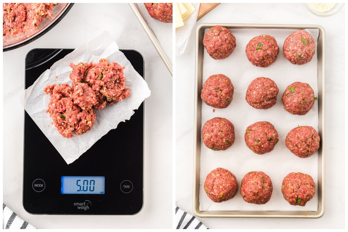 Use a kitchen scale to weigh out and shape 12 5-ounce meatballs