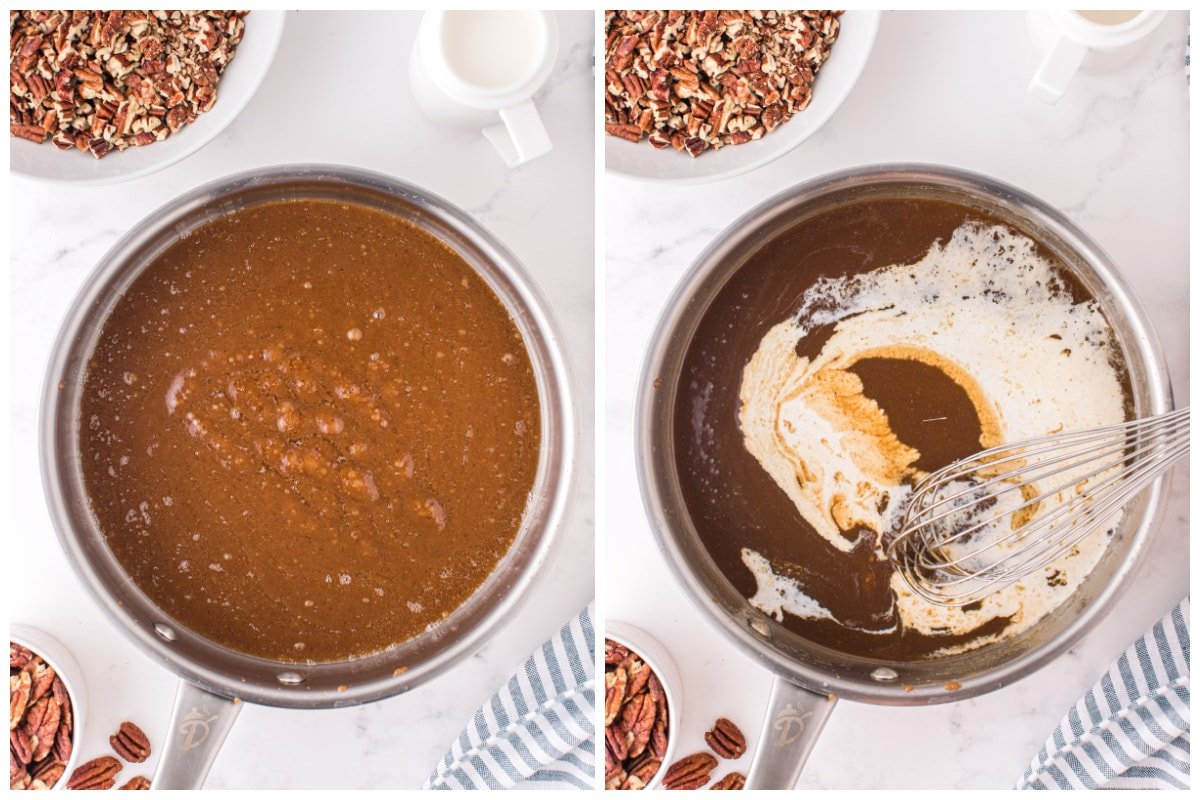 whisk in half and half with the butter and brown sugar in the skillet