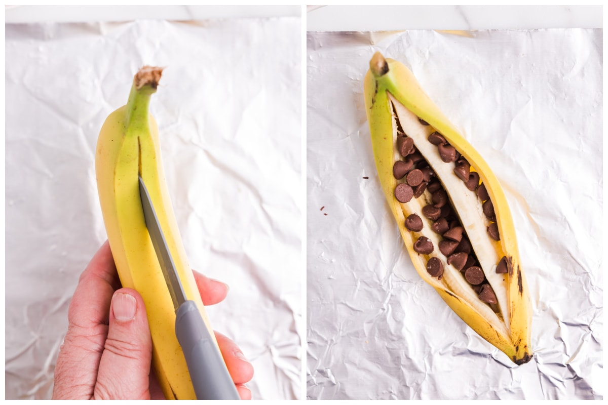 Sprinkle chocolate chips into the middle of the banana