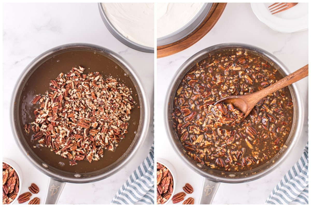 Add toasted pecans into the skillet