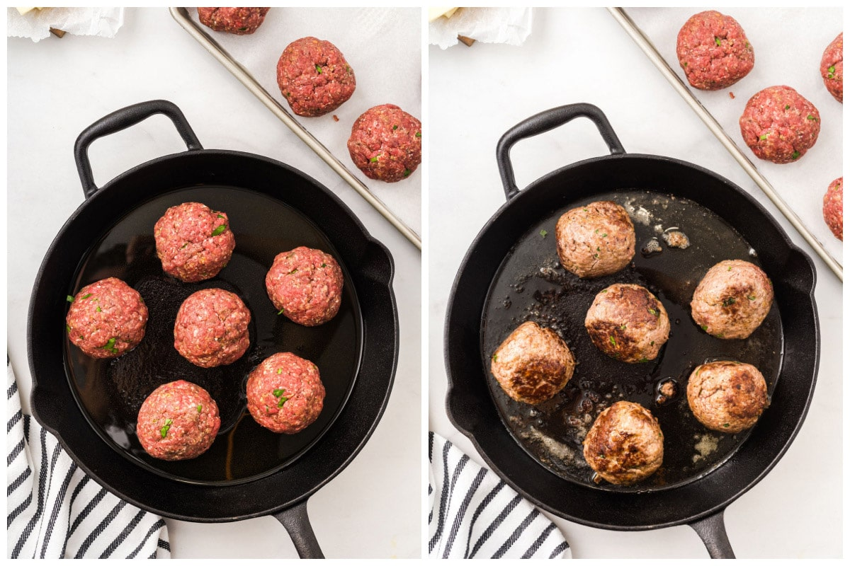 Brown the meatballs in a skillet on the stove